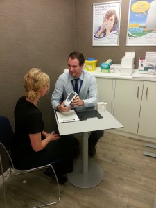 Darren discussing Warfarin Clinic with a patient